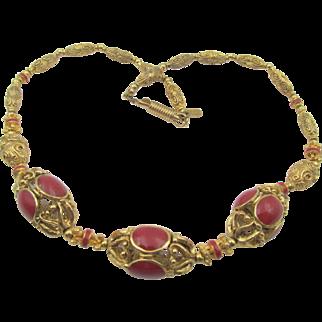 Vintage French Orena Paris Carnelian Enamel Gilt Beaded Necklace