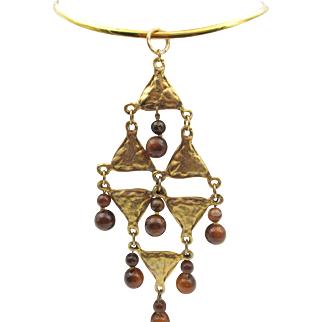 Vintage Etruscan Style Large Beaded Pendant on Collar Necklace