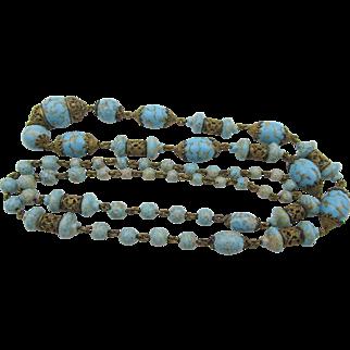 "Vintage Art Deco Czech Faux Turquoise Glass Beads Filigree 36"" Necklace"