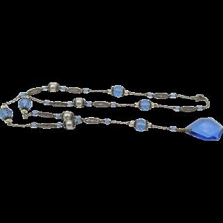 Vintage Czech Lavaliere Blue Glass Pearl Necklace