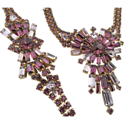 Stunning Vintage Purple Baguette Rhinestone Necklace and Bracelet Set