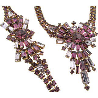 Stunning Vintage Purple Baguette Rhinestone Necklace and Bracelet Set