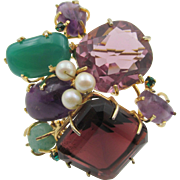 Vintage Natural Chrysoprase and Amethyst 18K Plated Brooch