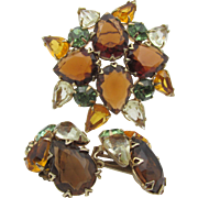 Vintage Austrian Fall Color Rhinestone Brooch and Earrings