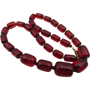 Vintage Cherry Red Translucent Bakelite Barrel Necklace