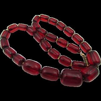 Vintage Cherry Red Translucent Bakelite Barrel Necklace