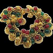 Vintage Glass Bead Charm Bracelet