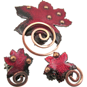 Vintage Matisse Copper Red Enamel Maple Leaf Brooch and Earrings