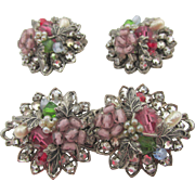 Vintage DeMario Glass Bead Pearl Brooch and Earrings