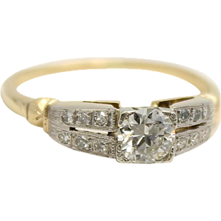 Diamond Engagement Ring - Two Tone - 14K Gold