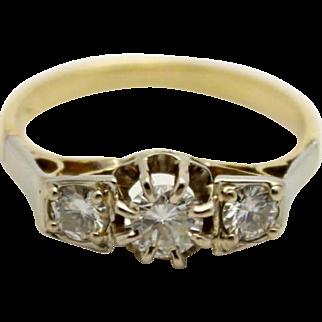 3 Stone Diamond Engagement Ring 18K Yellow and White Gold