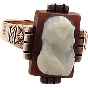 Victorian Agate Cameo Ring 9K Yellow Gold