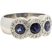 Sapphire and Diamond Halo Ring 18K White Gold