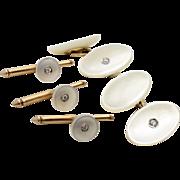 Vintage Art Deco Cufflinks Set - Larter & Sons -14k Gold Mother of Pearl & Diamond