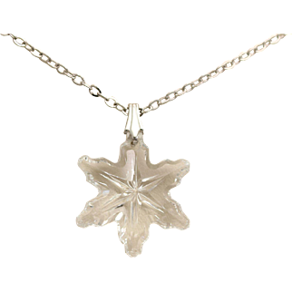 Gorham Crystal Snowflake Pendant Necklace Lead Crystal Sterling Silver Chain
