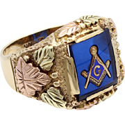 Masonic Ring - Black Hills Gold with Blue Acrylic Center - 10K Gold