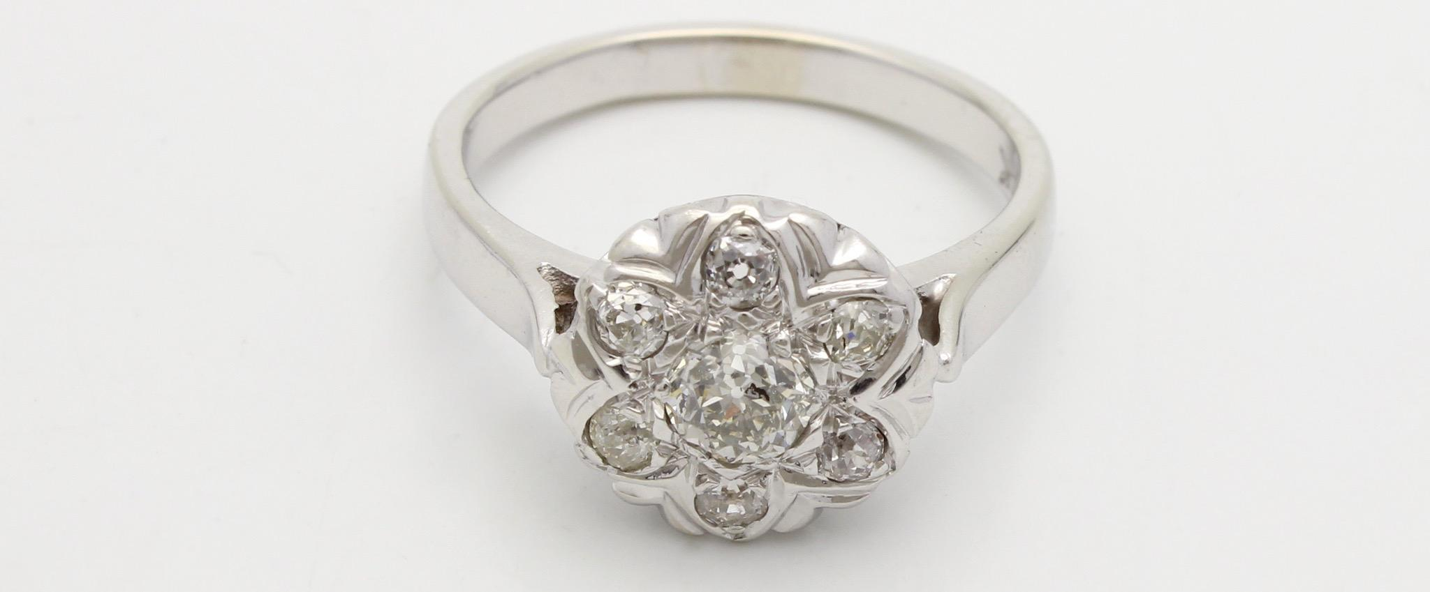 Vintage Diamond Floral Engagement Ring 14K White Gold from anessajoygems on R