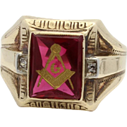 Masonic Ring with Ruby Glass and Diamond Accents  Otsby Barton 10k Gold