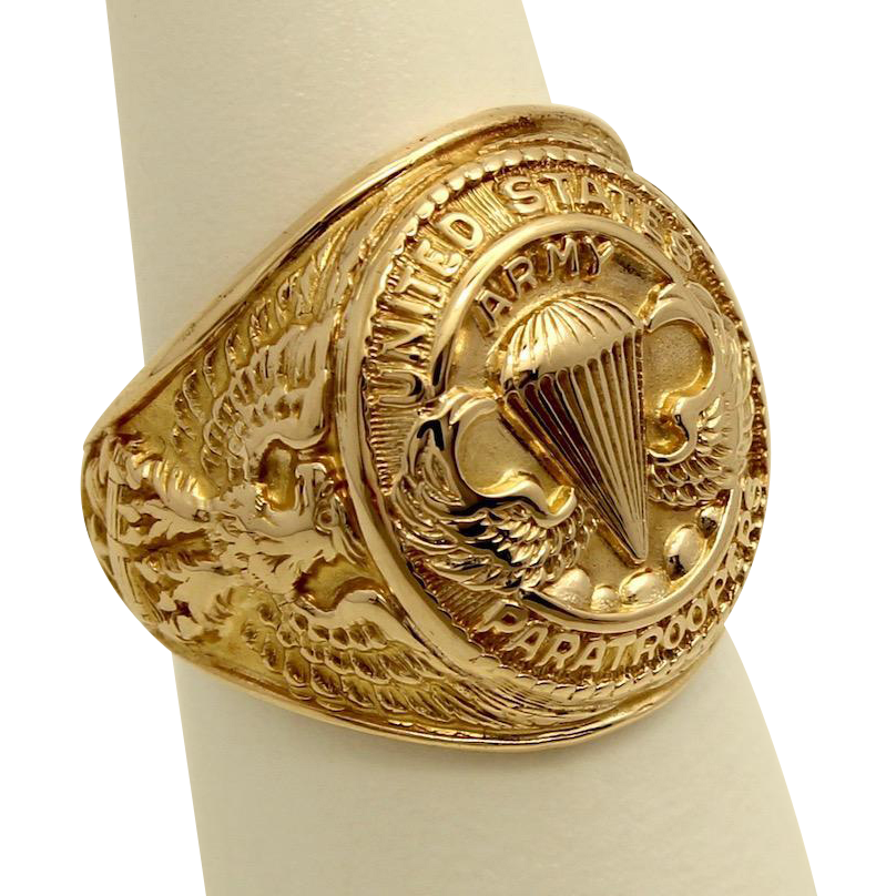 Vintage Wwii Us Army Paratroopers 10k Yellow Gold Ring