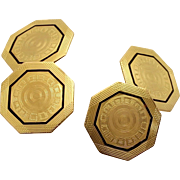 Vintage ParkRoger 10K Octagonal Gold and Enamel Cufflinks