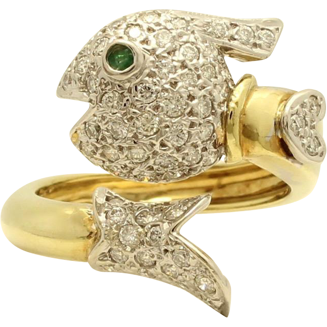 Fish Cowboy Wrap Around Ring with Diamonds and Emerald Eye from