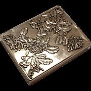 Art Nouveau Floral Repousse Silver Box for Coins Money Jewelry - Partitioned Box