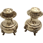 VIntage Sterling Footed Floral Salt and Pepper Shakers