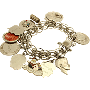 Vintage Charm Bracelet Sterling Silver 12 Charms