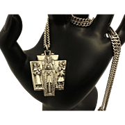 CREED Vintage Sterling Silver Religious Four Way Medal and Necklace