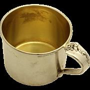 Heirloom 'Damask Rose' Sterling Baby Cup engraved 1957 Gold washed