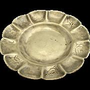 VIntage MACIEL Mexican Sterling Silver Dish Floral Animal Design