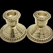 Vintage Crown Sterling Silver Candlestick Holders w/Gadrooning Set of 2