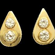 Diamond Teardrop Clip On Earrings 14K Yellow Gold