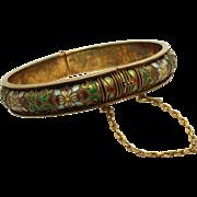 Vintage Silver Cloisonne Enamel Cuff Bracelet with Floral Design