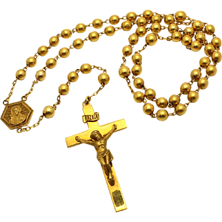 """INRI 10K Yellow Gold Rosary with 3D Crucifix 21.5"""""""