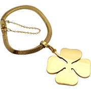 Tiffany & Co. Gold Bracelet with Four Leaf Clover Charm