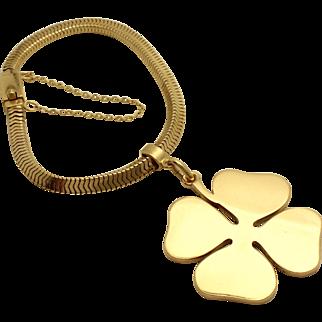 Tiffany & Co. Gold Bracelet with Four Leaf Clover Charm