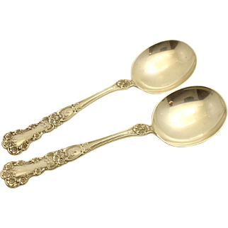 'Buttercup' 1899 by Gorham (Lion, Anchor,G) Sterling Silver Round Bowl Gumbo Soup Spoons