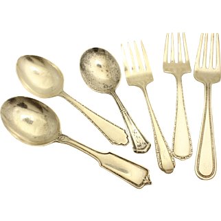 Sterling Silver Baby Flatware-Unique group of 6