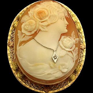 Victorian Cameo Brooch with Filigree Leaf Design 10K Tri-Color Gold