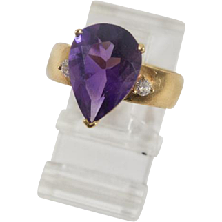 Pear Shape Faceted Amethyst and Diamond Ring