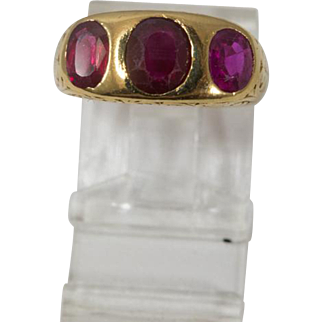 Three Stone Filigree Ring of Ruby and Synthetic Ruby