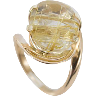 Spun Gold Look & Roses Ring with Oval Faceted Rutilated Quartz set in 14k (stamped) Rose Gold