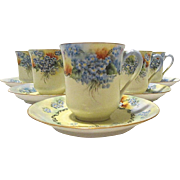 Hand-Painted French Demitasse Service for 6, Haviland France