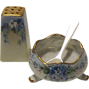 Hand-Painted Salt Set from Bavaria - Cellar, Shaker & Mother-of-Pearl Spoon