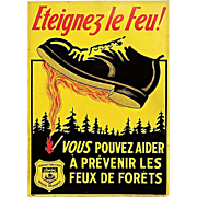 1938 Embossed Tin French Fire Prevention Sign