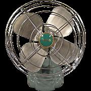 1950s Aqua McGraw Edison ZERO Electric Fan, Midcentury Model 08499