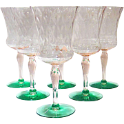 "Pink & Green ""Watermelon Glass"" Goblets, Set of 6, Depression Glass"