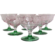 SALE, 55% OFF! Depression Era Watermelon Glass Coupes / Sherbet Dishes - Set of 6