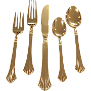 Stanley Roberts Pavilion Gold Plated Flatware, Service for 8,             40 Pieces